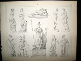 Statues/Sculpture 1857 Antique Print. 4